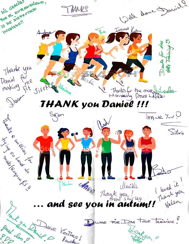 Dankeszeichnung mit vielen persönlichen Glückwünschen von einem Firmenfitness Kunden